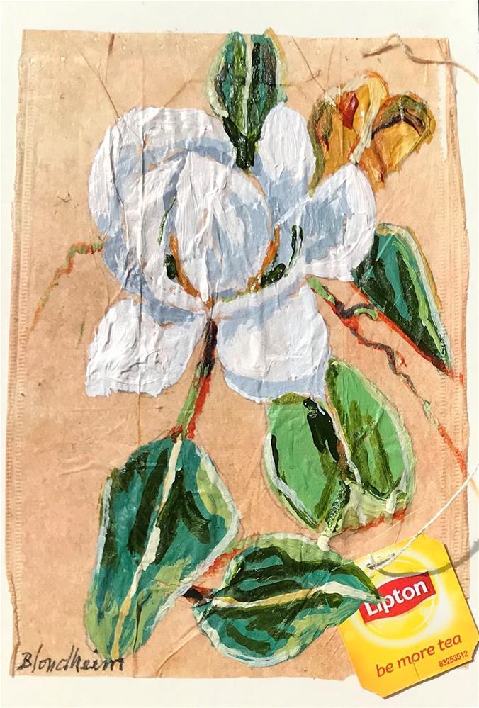 """Tea Bag Painting Magnolia Tree"" original fine art by Linda Blondheim"
