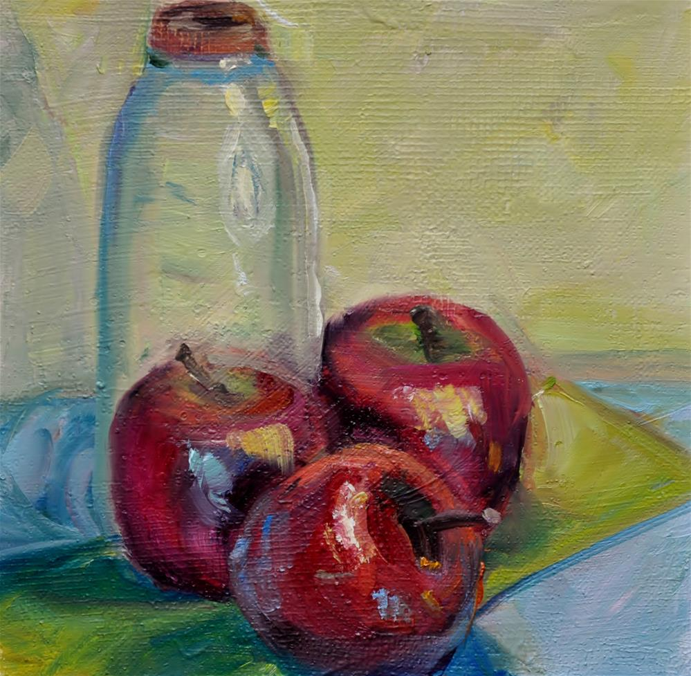 """Apple w/ jar"" original fine art by Catherine Crookston"