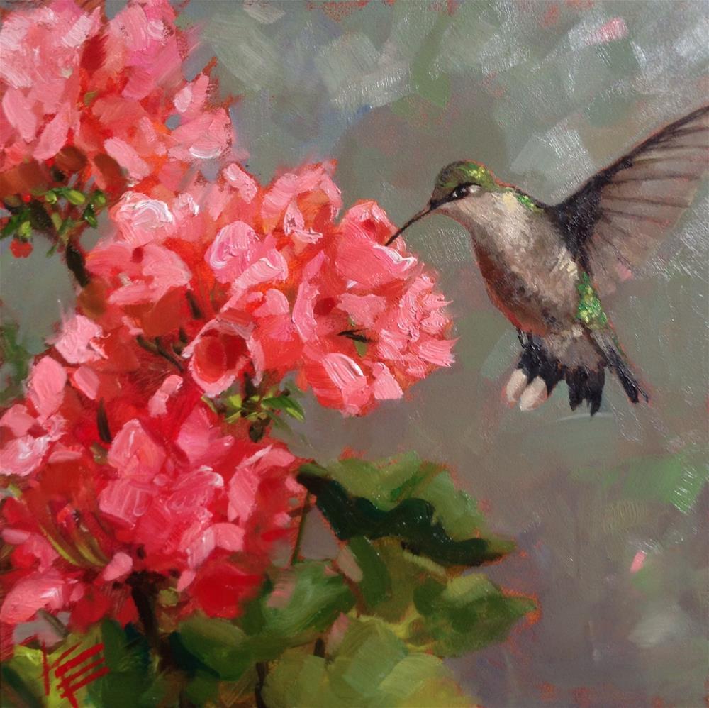 """Hummingbird with geraniums"" original fine art by Krista Eaton"
