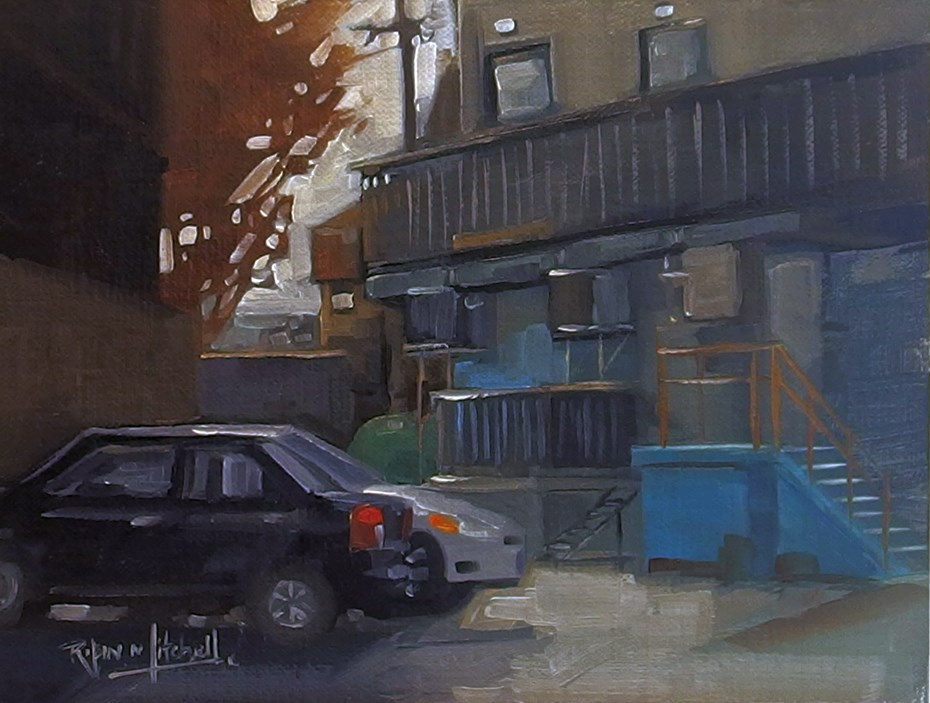 """""""No 836 Back of the Stores"""" original fine art by Robin J Mitchell"""