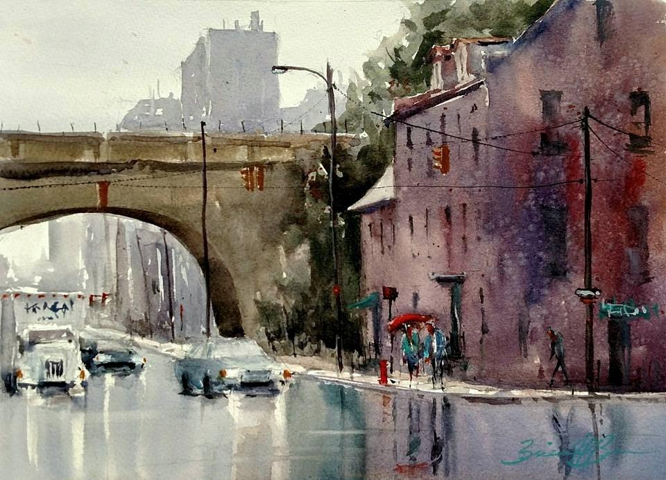 """Rain on Front Street"" original fine art by Brienne  Brown"