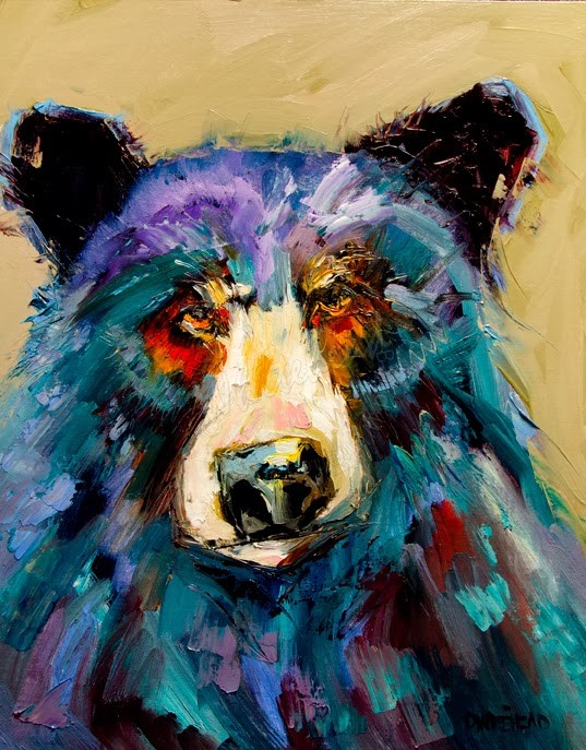 """ARTOUTWEST DIANE WHITEHEAD FINE ART OIL PAINTING BLACK BEAR ART"" original fine art by Diane Whitehead"