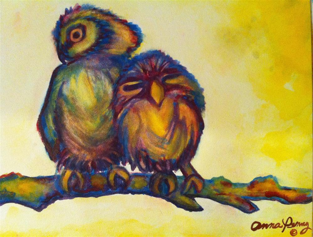 """Owls in Love"" original fine art by Anna Penny"