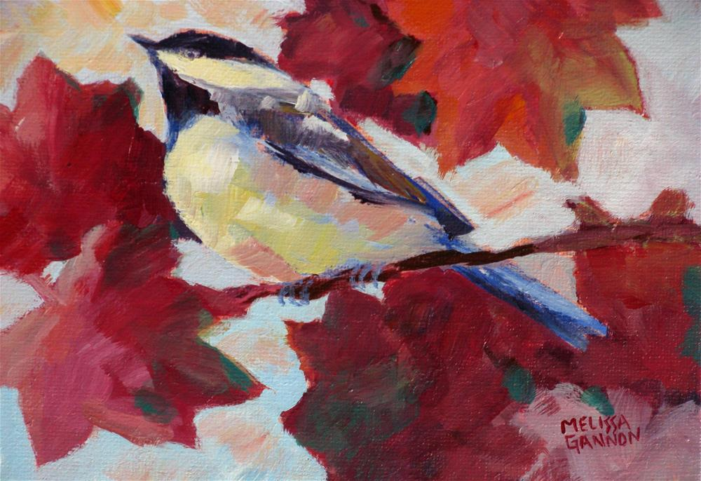 """Red Leaf Perch"" original fine art by Melissa Gannon"