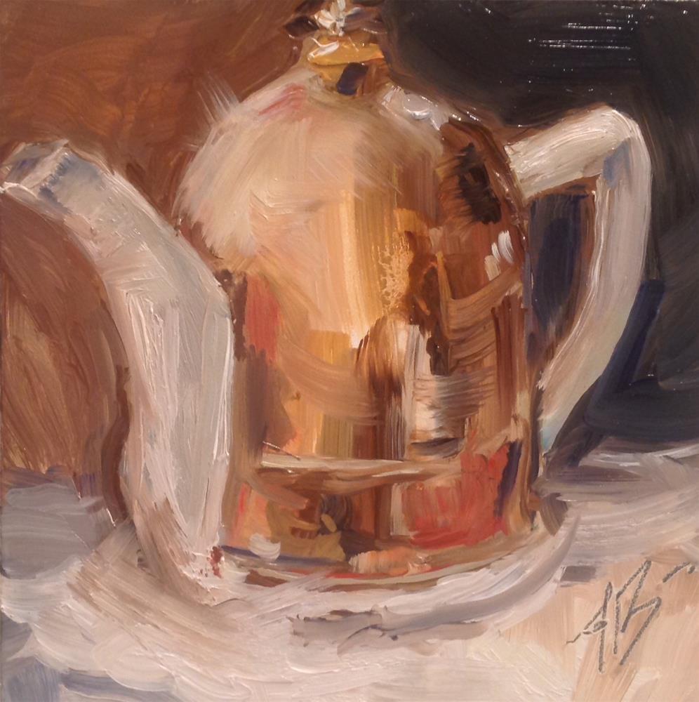 """Teapot with Copper Cozy"" original fine art by Annette Balesteri"