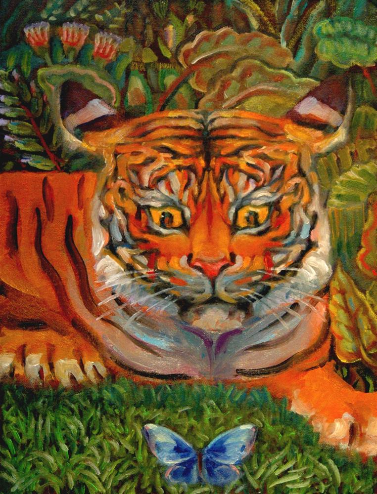 """""""Tiger and Blue Flutterby"""" original fine art by Rachel K Schlueter"""