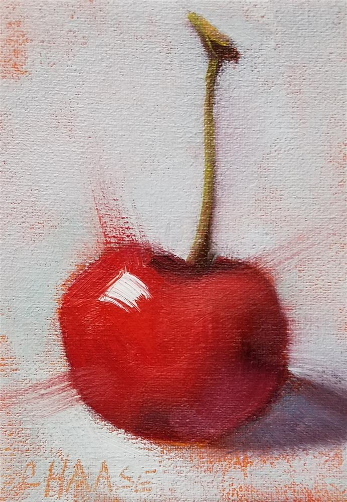 """Little Red Cherry"" original fine art by Cindy Haase"