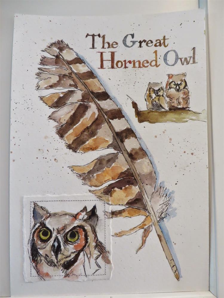 """619 Great Horned Owl Tribute"" original fine art by Diane Campion"