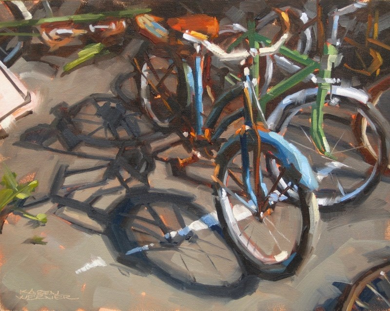 """Beater Bikes"" original fine art by Karen Werner"
