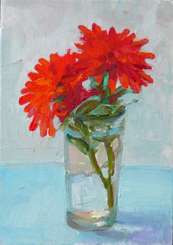 """Red Dahlias,still life,oil on canvas,7x5,price$150"" original fine art by Joy Olney"
