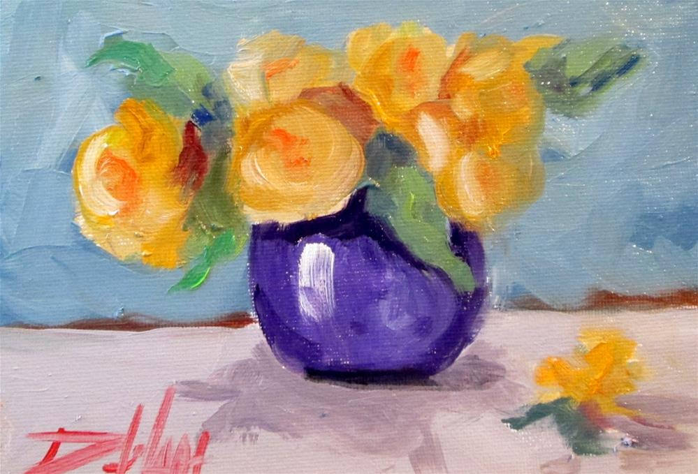 """Yellow  Flowers Purple Vase"" original fine art by Delilah Smith"
