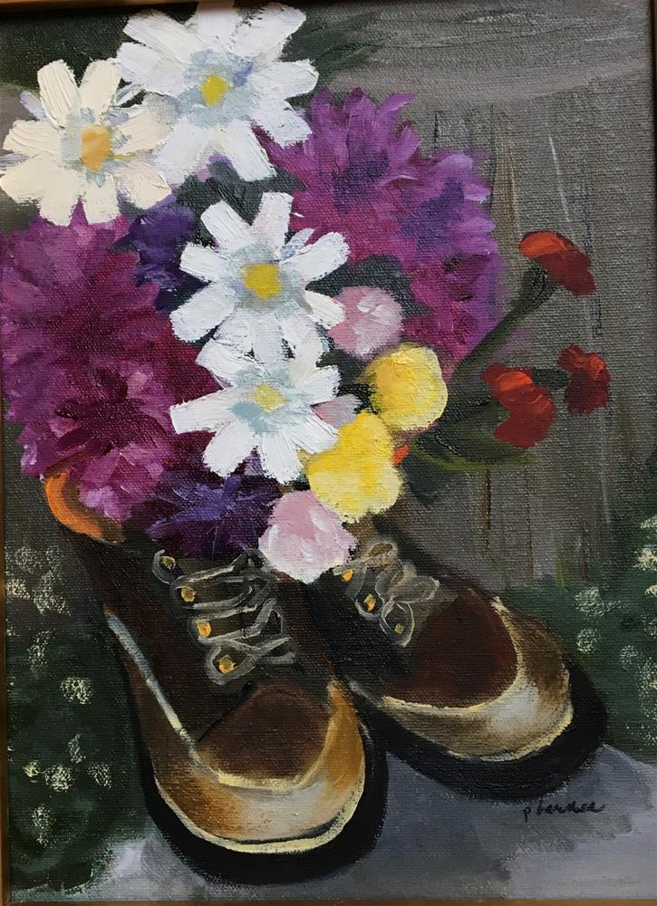"""Dad's Boots (framed)"" original fine art by Patty Barnes"