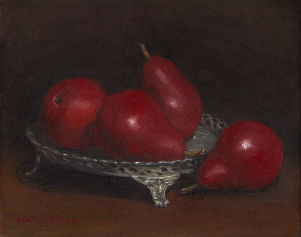 """""""Red Pears on a Silver Tray"""" original fine art by Pat Kelley"""