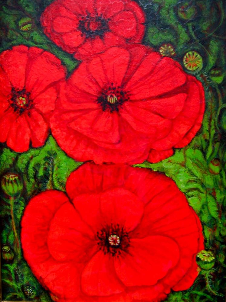 """Outrageous Poppies"" original fine art by Karen Roncari"