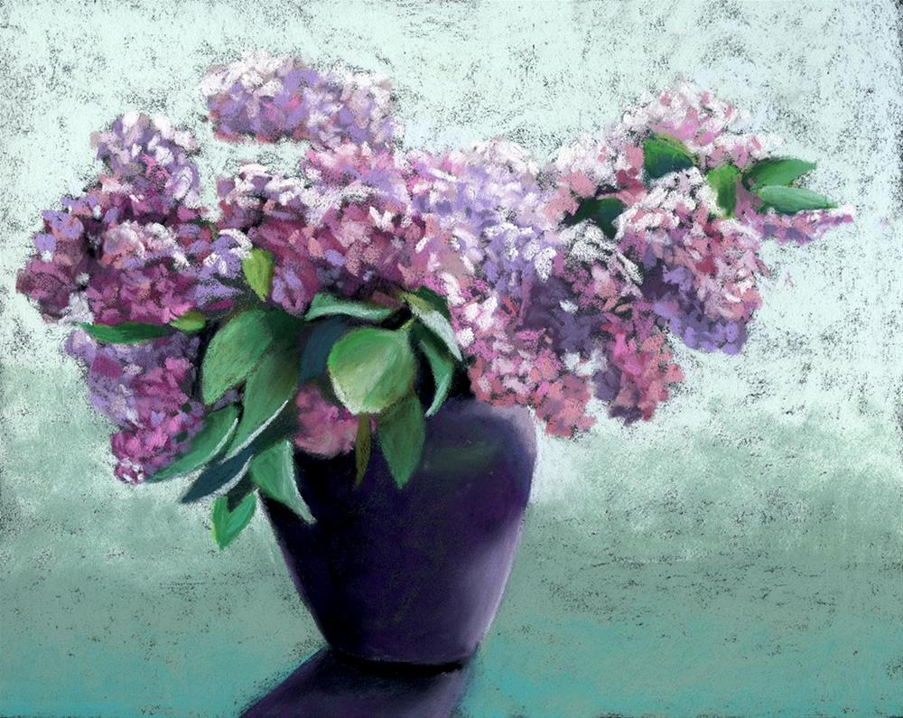 """Lilacs in Vase pastel painting"" original fine art by Ria Hills"