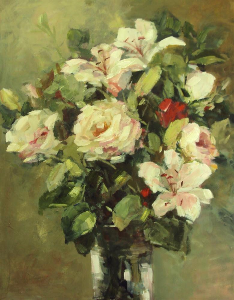 """roses and lilies"" original fine art by Parastoo Ganjei"