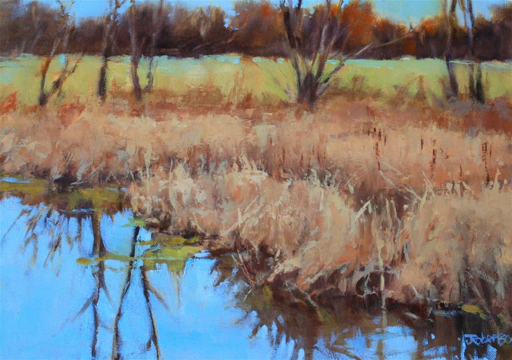 """""""Fall Marshland in the County"""" original fine art by Jane Robertson"""
