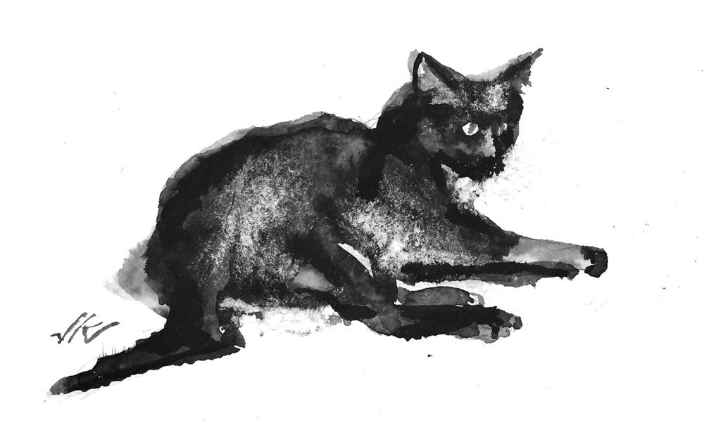 """Daily Cat 169"" original fine art by Jean Krueger"