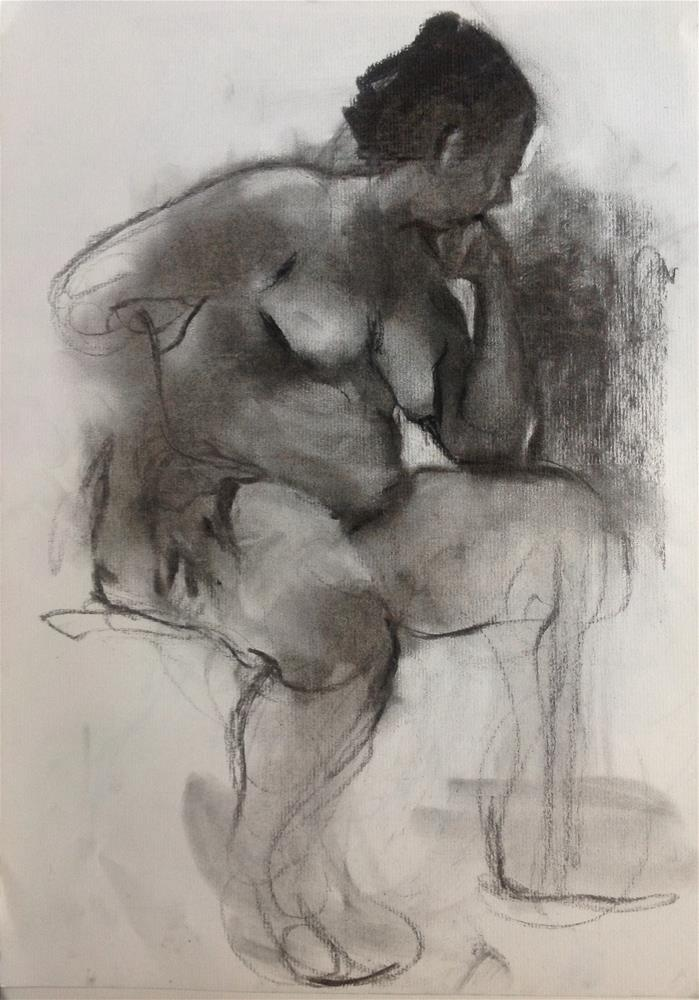 """Charcoal sketch"" original fine art by Christine Bayle"