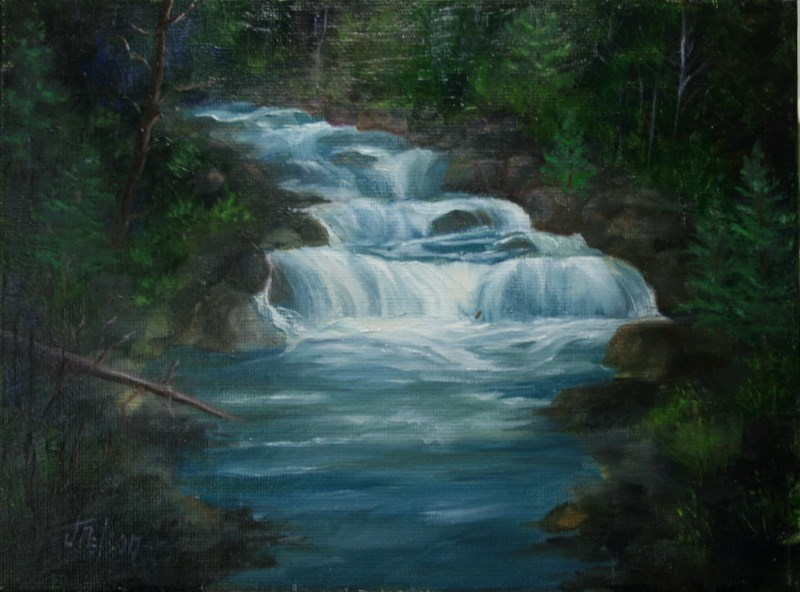 """""""Pend Orielle Falls"""" original fine art by Jean Nelson"""