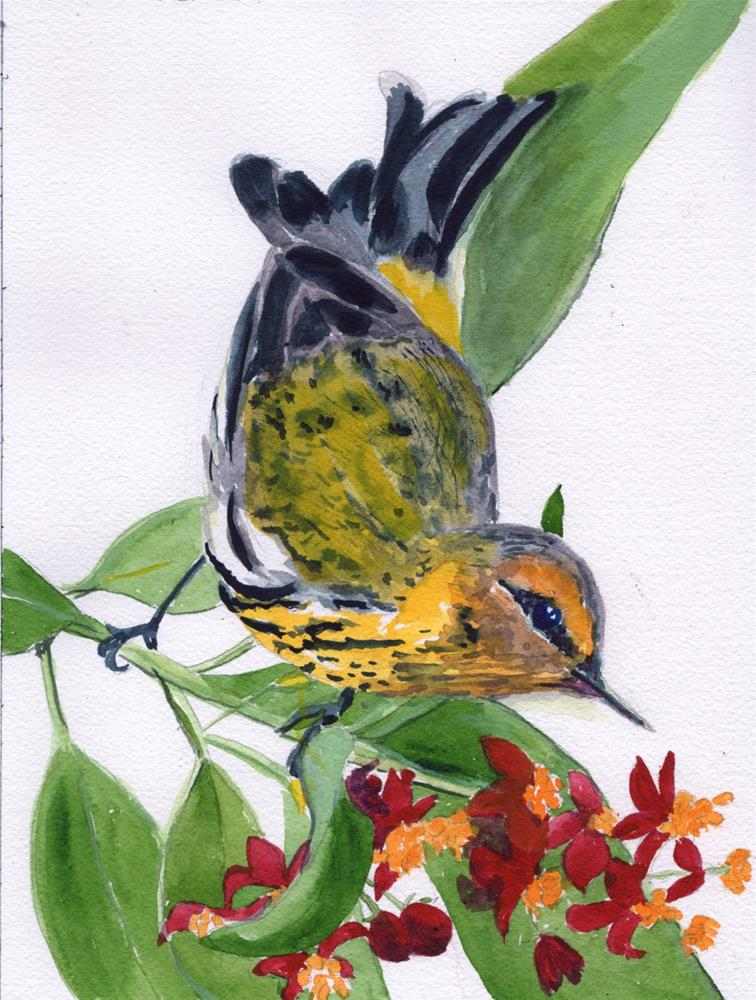 """""""Yellow Throated Warbler"""" original fine art by Bunny Griffeth"""