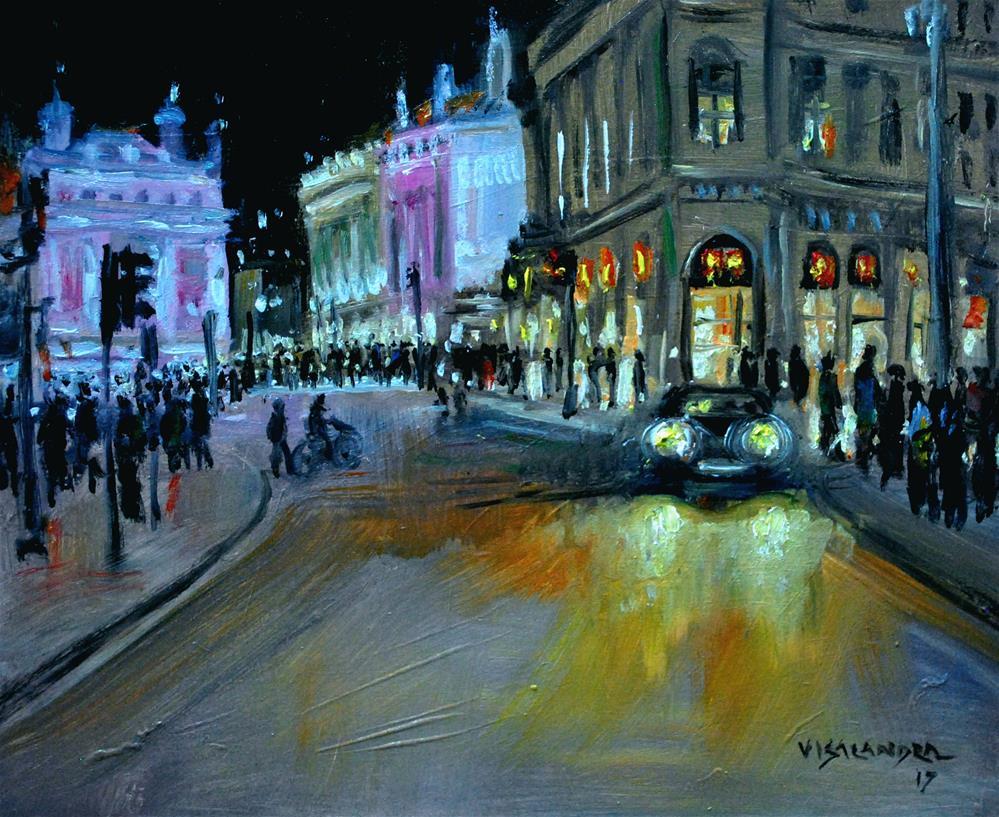 """London in night2"" original fine art by vishalandra dakur"