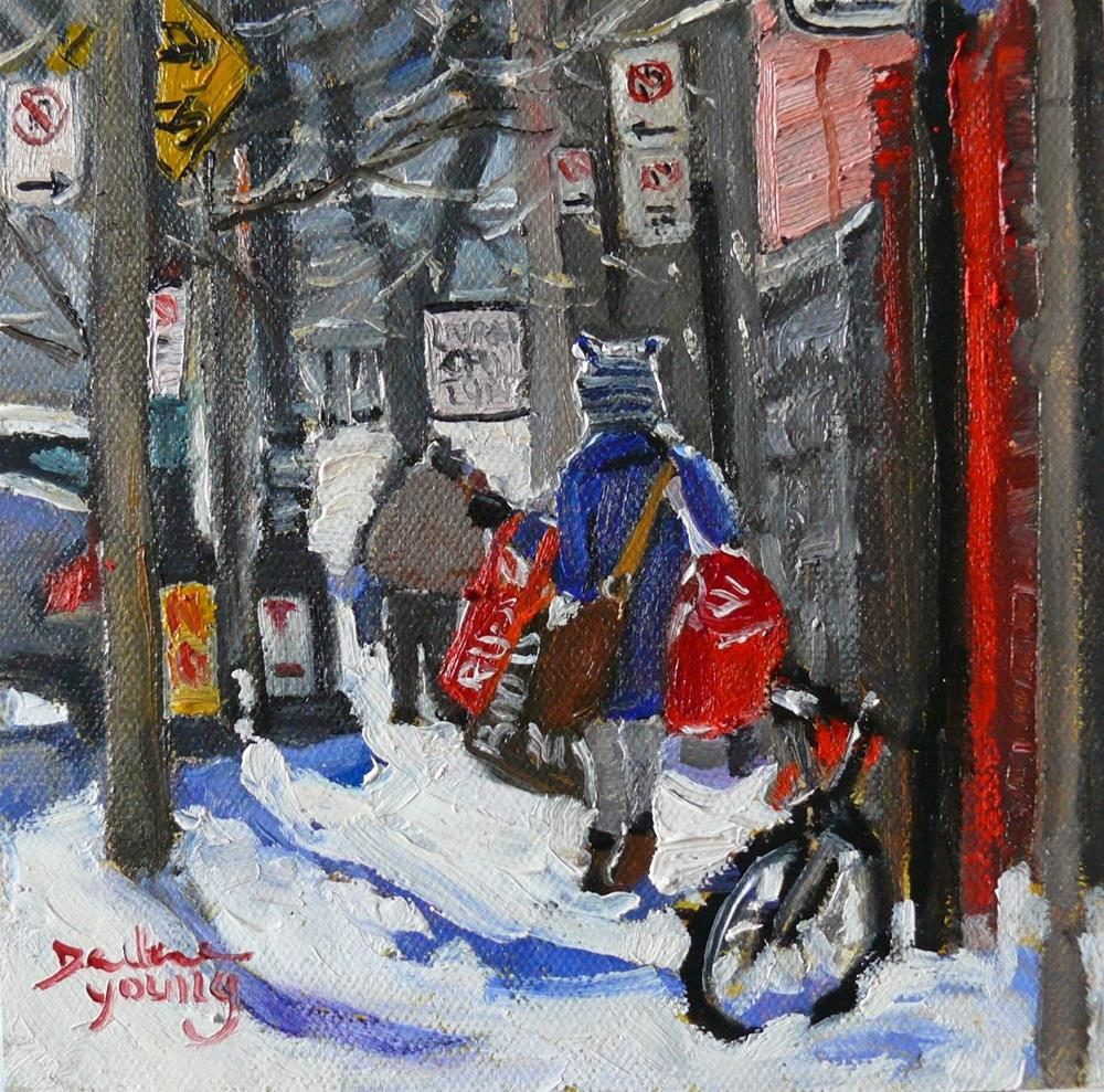 """""""819 Montreal Winter, McGill Laundry Day, 6x6"""" original fine art by Darlene Young"""