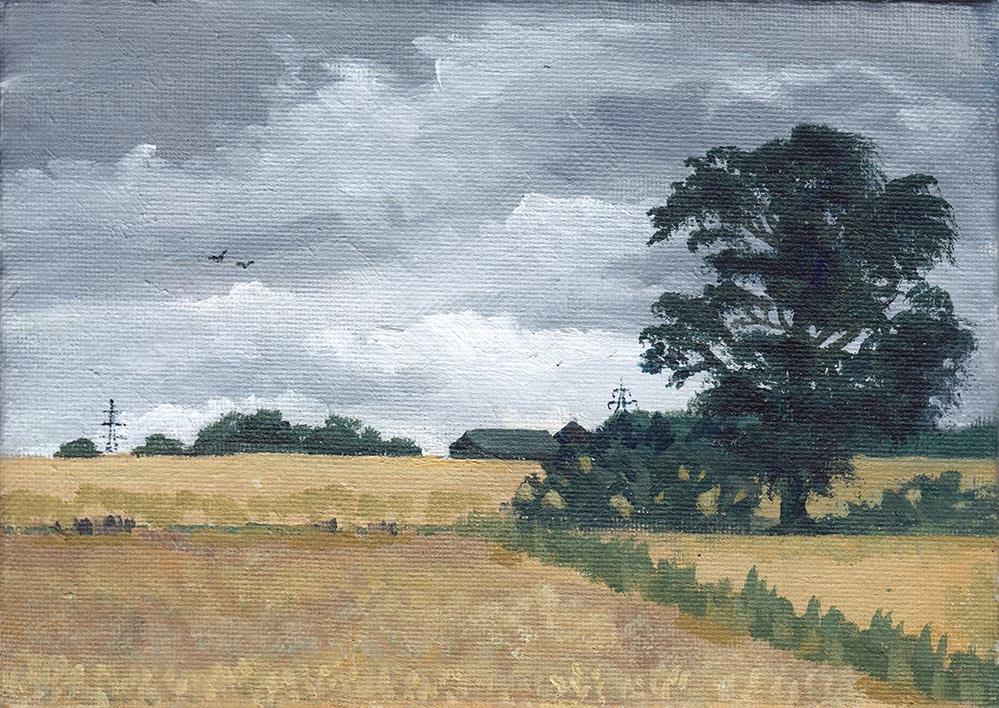 """Tree Overlooking Yellow Fields"" original fine art by J M Needham"