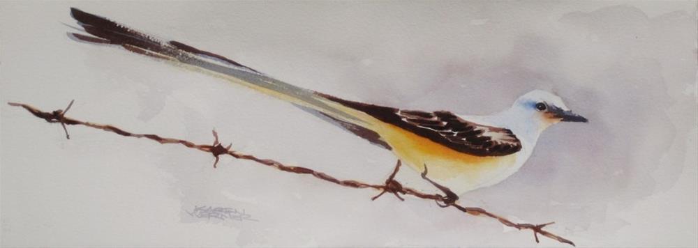 """""""Bird On A Wire"""" original fine art by Karen Werner"""