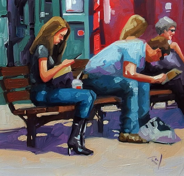 """No 747 Texting"" original fine art by Robin J Mitchell"