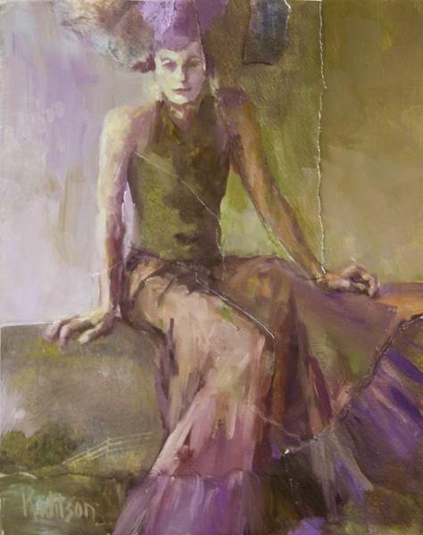 """On Bench in Gown"" original fine art by Katie Wilson"