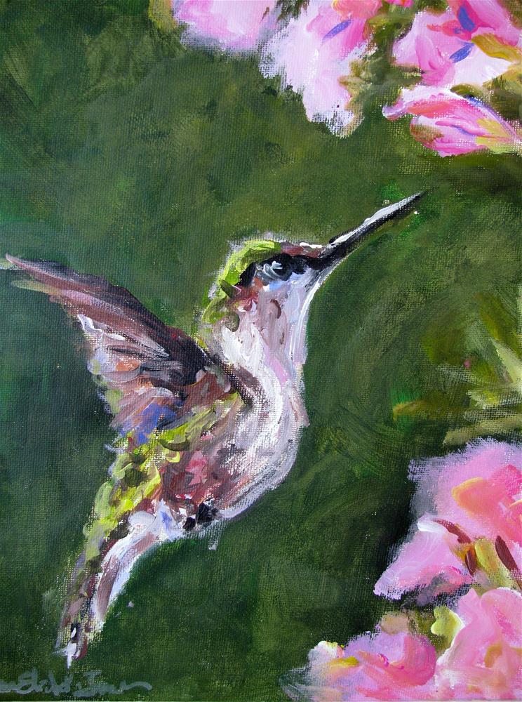 """Hungry Hummingbird"" original fine art by Susan Elizabeth Jones"