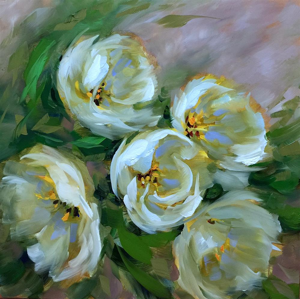 """Where the Day Goes White Tulips - Nancy Medina Art Videos and Classes"" original fine art by Nancy Medina"