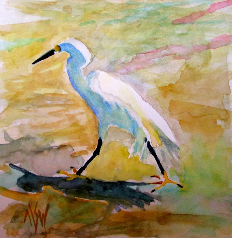"""""""Stepping Out 6x6 WC  this snowy egret caught my eye as he marched along the beach in Naples, FL"""" original fine art by Mary Sheehan Winn"""
