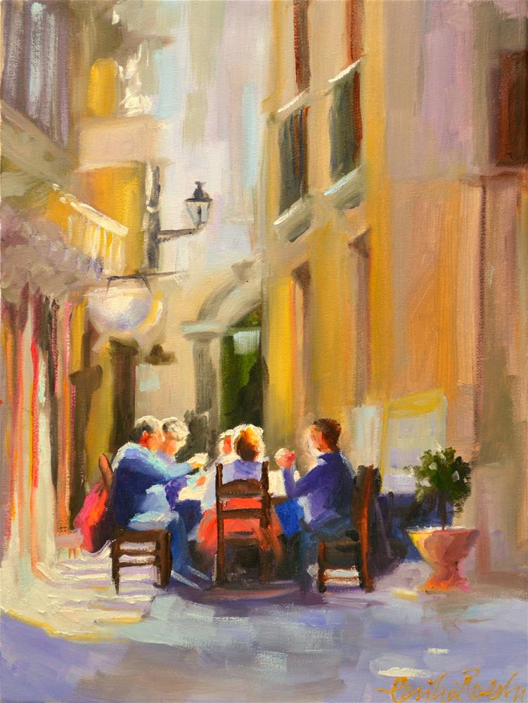 """ITALIAN CAFE"" original fine art by Cecilia Rosslee"