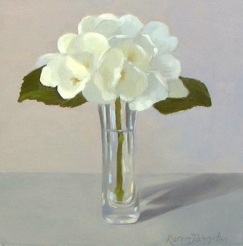"""""""White Hydrangea"""" original fine art by Karen Johnston"""