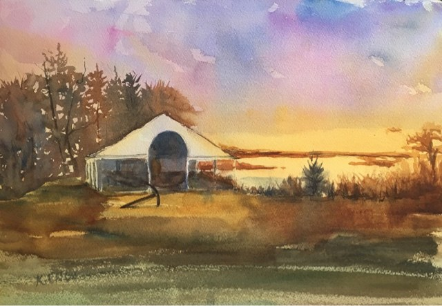 """Stony Brook Village - Hercules"" original fine art by Katharine Engh"