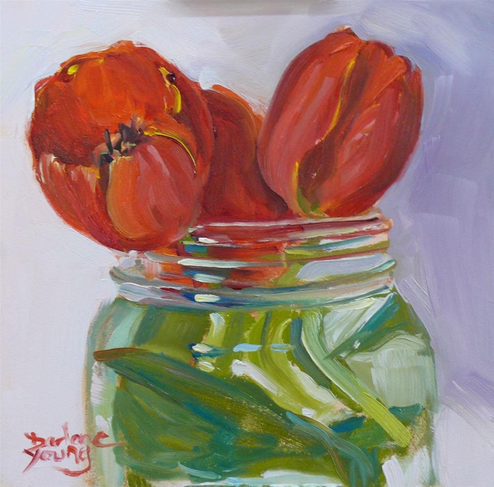 """639 Red Tulips in a Jar"" original fine art by Darlene Young"
