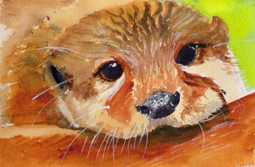 """""""River Otter"""" original fine art by Bunny Griffeth"""