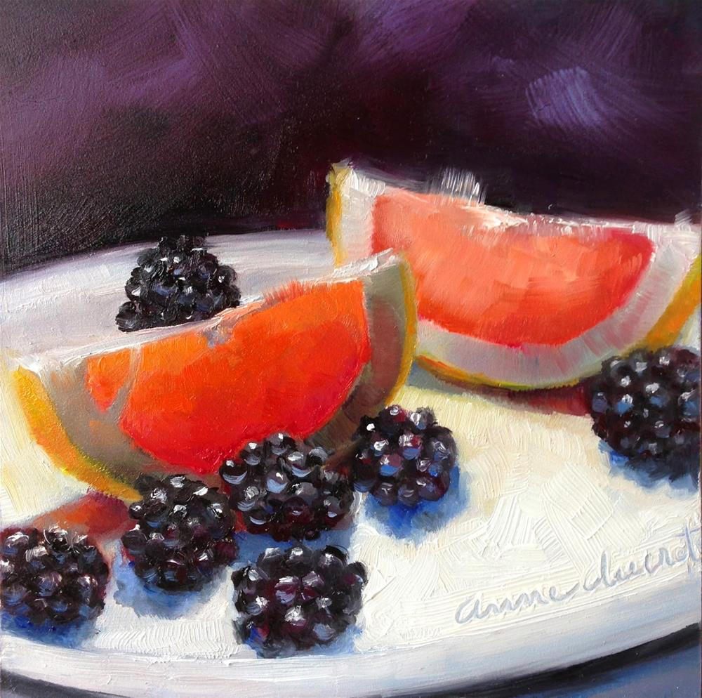 """Ruby slices with blackberries"" original fine art by Anne Ducrot"