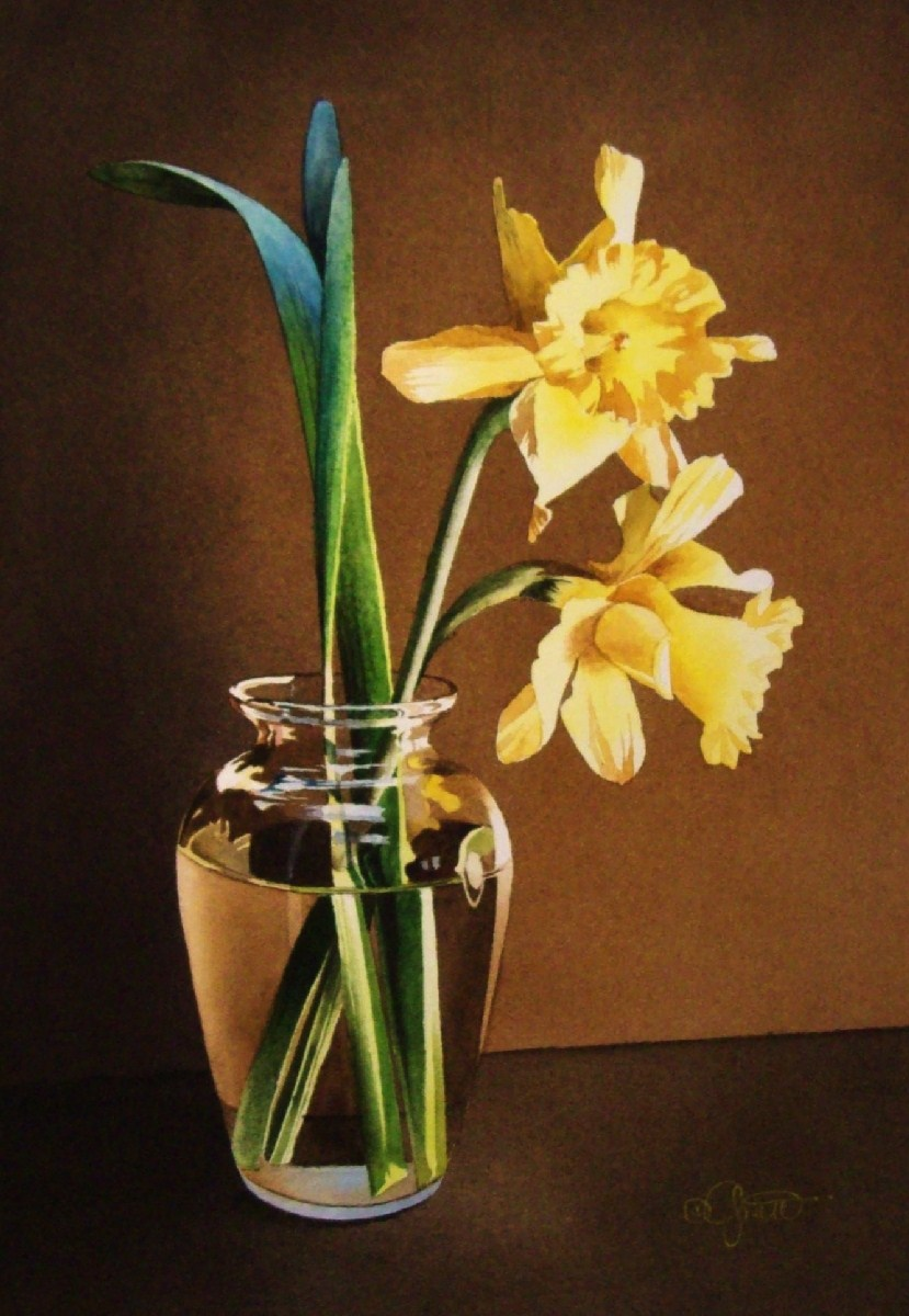 """""""Still Life with Daffodils"""" original fine art by Jacqueline Gnott, TWSA, WHS"""