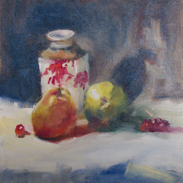 """Vase and Pear Study"" original fine art by Sue Churchgrant"