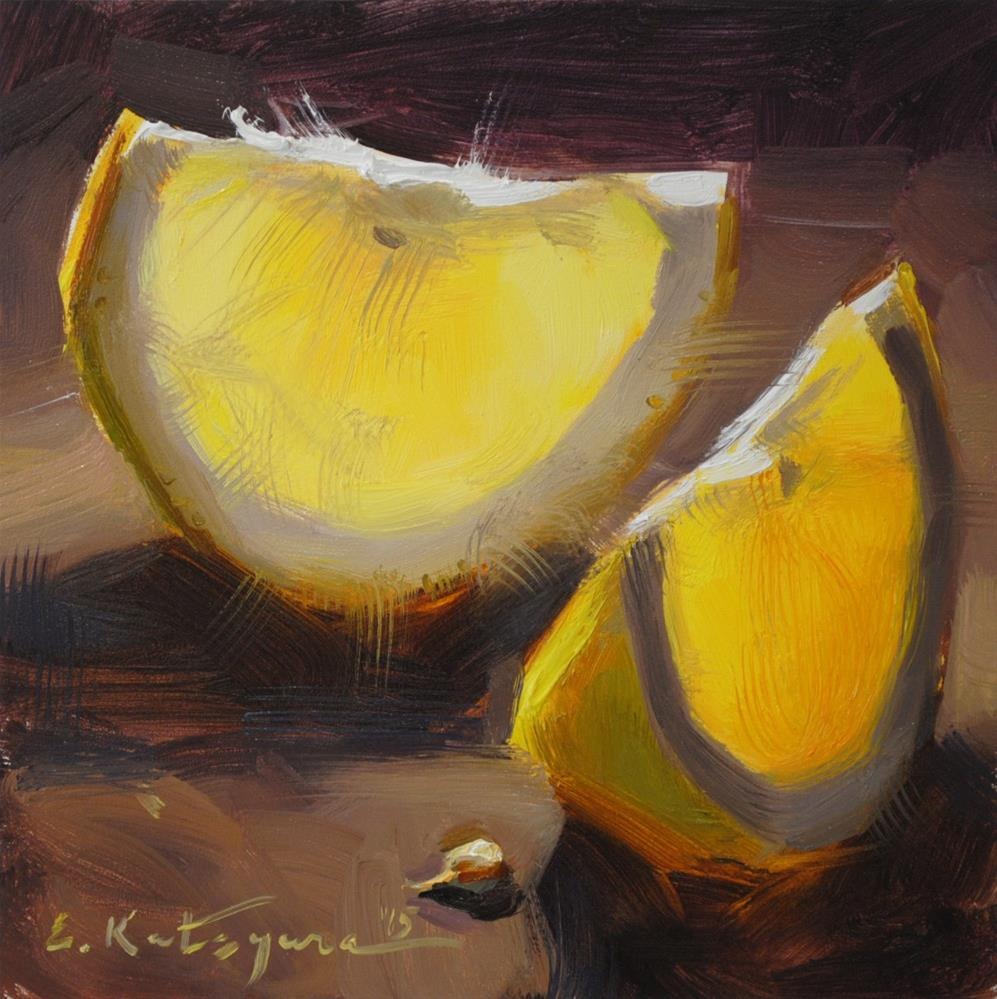 """White Grapefruit"" original fine art by Elena Katsyura"