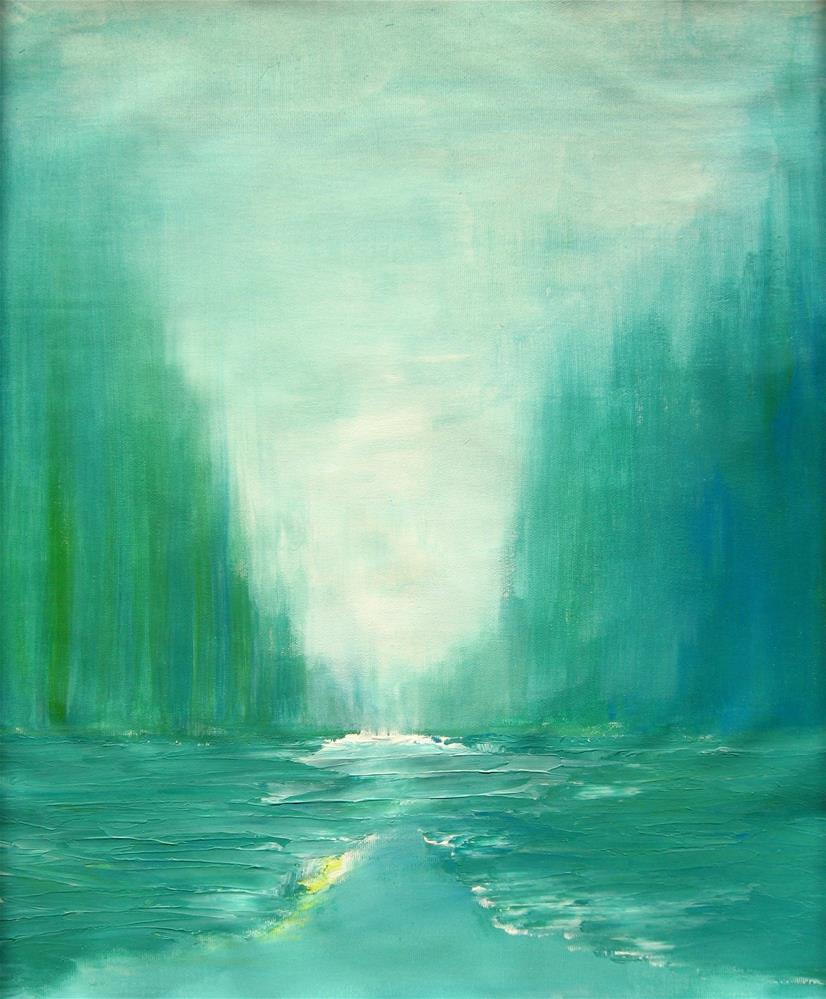 """Blue Green Landscape"" original fine art by Alina Frent"