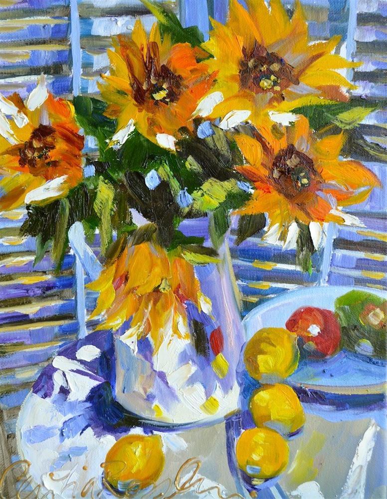 """SUN THROUGH SHUTTERS"" original fine art by Cecilia Rosslee"
