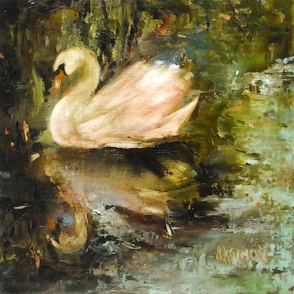 """""""Swan in Mourning"""" original fine art by A.K. Simon"""