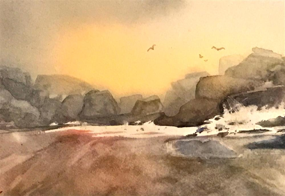 """rocky beach"" original fine art by Betty Argiros"