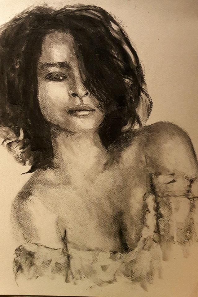 """Gypsy in charcoal"" original fine art by Rentia Coetzee"