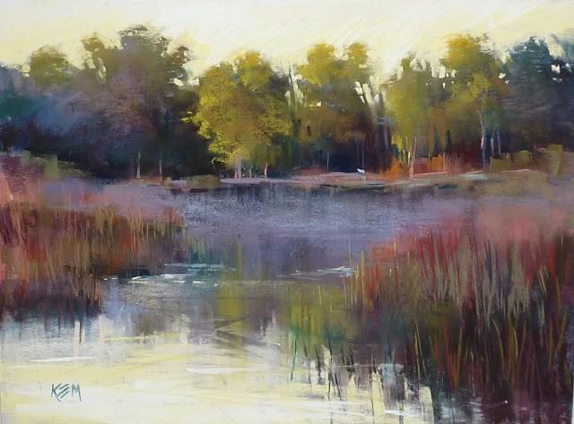 """Pastel Demo: Florida Wetlands with Reflections"" original fine art by Karen Margulis"
