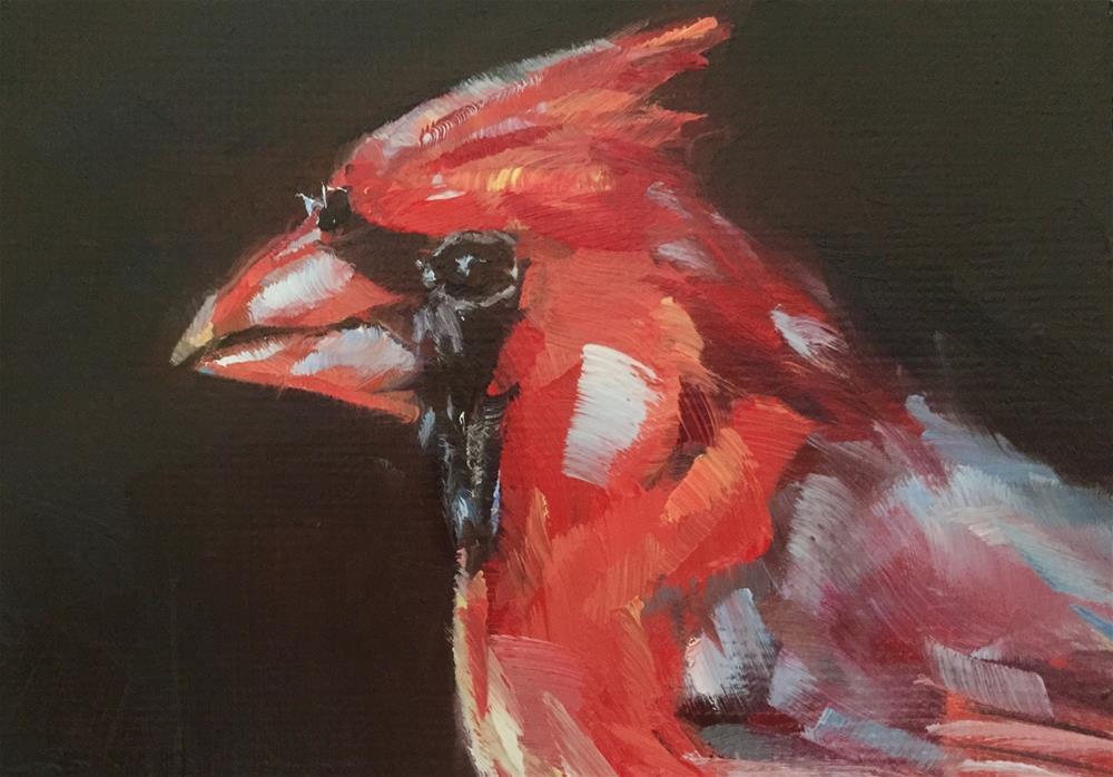"""Cardinal Portrait"" original fine art by Gary Bruton"